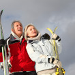 Senior couple having fun at ski resort — Stock Photo