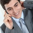 Stock Photo: Closeup of businessman on the phone