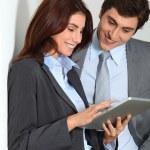 Business using electronic tab — Stock Photo