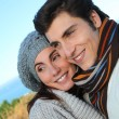portrait of happy couple in herbstsaison — Stockfoto #5698437