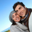 portrait of happy couple in herbstsaison — Stockfoto #5698439