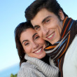 portrait of happy couple in herbstsaison — Stockfoto #5698442