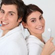 Portrait of couple brushing their teeth — Stock Photo