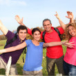 Group of friends hiking in countryside — Stock Photo #5698807