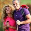 Foto Stock: Couple on a hiking day