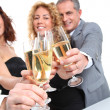 Group of friends cheering with glasses of champagne — Stock Photo #5699047