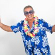 Happy man with hawaiian shirt — Stock Photo