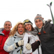 Foto Stock: Group of happy friends in winter vacation