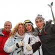 Stock Photo: Group of happy friends in winter vacation
