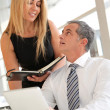 Manager and assistant working in the office — Stockfoto