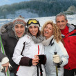 Group of happy friends in winter vacation — Stock Photo