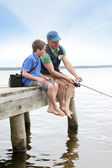 Fishing in lake — Stock Photo