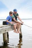 Rybaření v jezeře — Stock fotografie