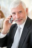 Portrait of senior businessman talking on the phone — Stock Photo
