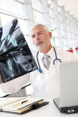 Senior doctor checking xray results — Stock Photo