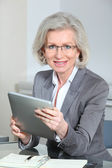 Portrait of senior businesswoman in office — Stok fotoğraf
