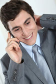 Closeup of businessman on the phone — Stock Photo