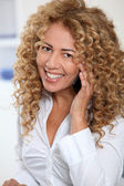 Portrait of businesswoman on the phone — Stock Photo
