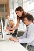 Os cooperadores em treinamento de negócios — Fotografia Stock