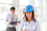 Architect wearing blue security helmet — Stock Photo