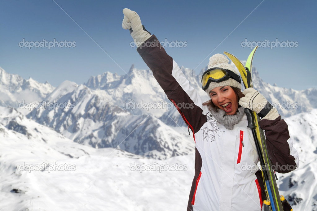 Beautiful woman having fun at the mountain — Stock Photo #5697345