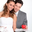 Bride and groom standing — Stock Photo #5700376
