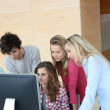 Group of students attending training course at school — Stock Photo #5701120