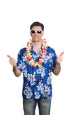 Man standing with hawaiian shirt — Stock Photo