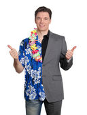 Happy businessman and cheerful lottery winner — Stock Photo