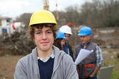 Portrait of teenager with security helmet — Stock Photo