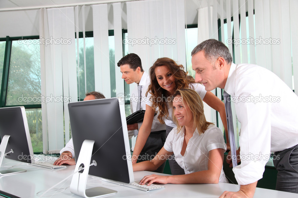 Group of business working in the office — Stock Photo #5700523