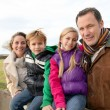 Family on a walk day in the countryside — Stock Photo