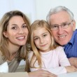 Portrait of smiling grandpa, mother and child — Stock Photo #6698657
