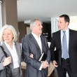 Senior couple visiting modern house with real-estate agent - Stock fotografie