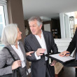Senior couple signing financial contract for property purchase - Stock fotografie