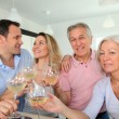 图库照片: Family drinking wine