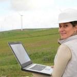 Engineer working in wind turbines field — Stock Photo #6700756