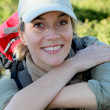 Portrait of smiling woman on hiking day — Stock Photo #6700795