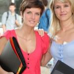 Girlfriends at university — Stock Photo