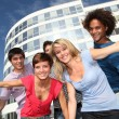 Group of friends at college campus — Stock Photo