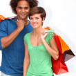 Stock Photo: Young couple doing shopping