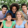 Group of happy students in a park — Stock Photo #6701874
