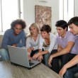 Group of friends sitting with laptop computer — Stock Photo #6701893