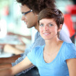 Beautiful college student in training course — Stock Photo #6702006