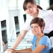 Young women working in the office — Stock Photo