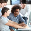 Group of young in training course - Stock Photo