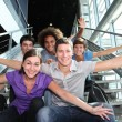 Group of happy young at university — Stock Photo