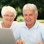 Senior couple surfing on internet — Stock Photo