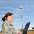 Stock Photo: Agronomist in wheat field