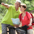 Senior couple riding bicycle in countryside — Stock Photo